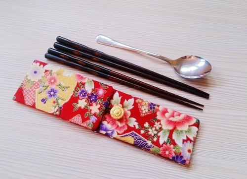 Green tableware storage bag double chopsticks bag Japanese wind / red double chopsticks set