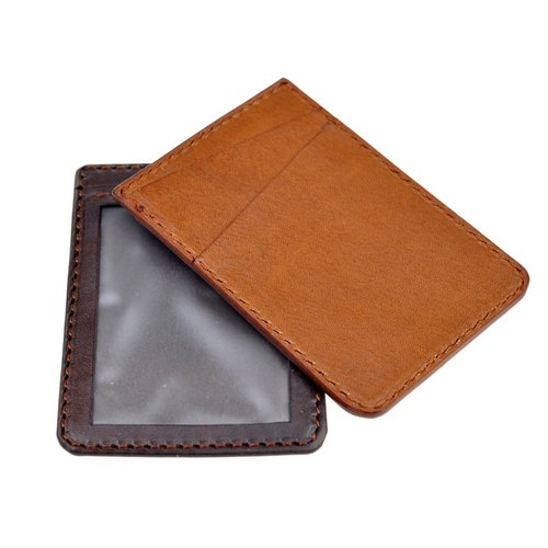 DOZI leather hand-made card holder identification card window You travel card holder card bag leather for dyeing production free color sample photo light brown