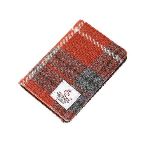 HARRIS TWEED CARD WALLET - ORANGE