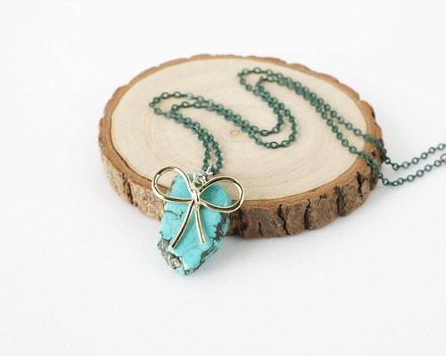 Green Turquoise Raw Stone Necklace with Gold Ribbon Bow Charm