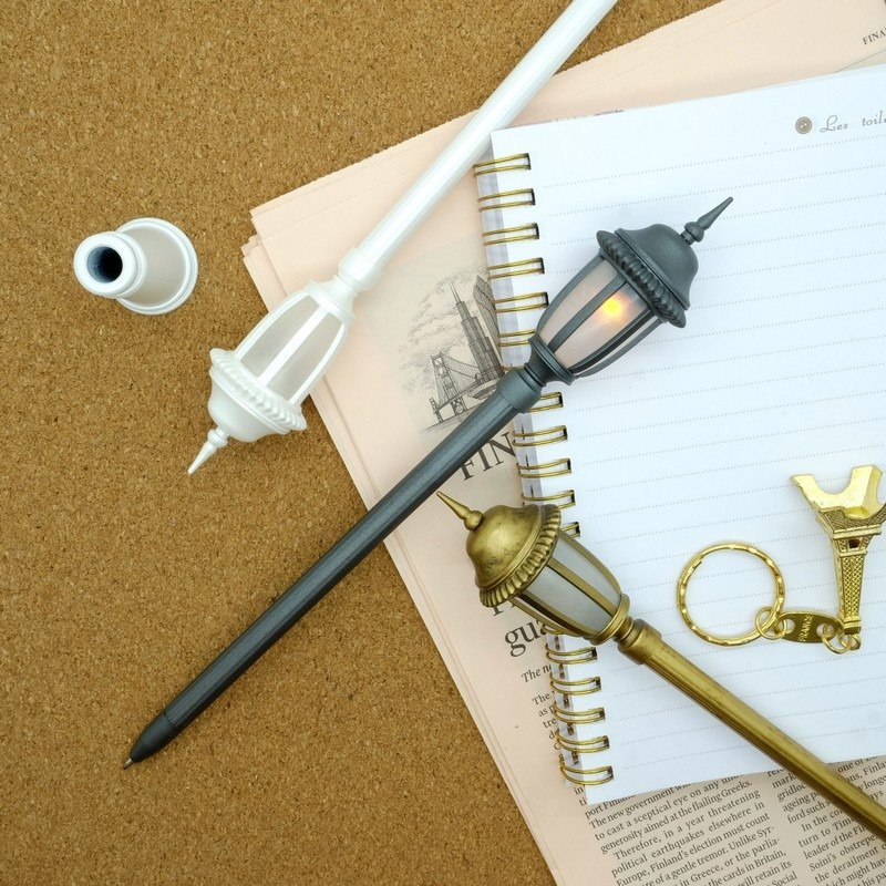 Gorgeous Classical Combination - Miniature Classical Street Light Pen (Fashion Black + Pearl White + Classical Gold)
