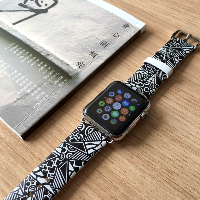 Apple Watch Series 1 ,Series 2 and Series 3 - 黑色幾何拼布圖案 Apple Watch 真皮手錶帶38 / 42mm ,100%香港設計及製作
