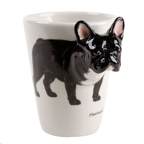 France French bulldog fighting [MSA] Blue Witch Mug British hand-painted glass ceramic cups black French-Bulldog