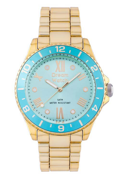 Dream Watch Anti-faceted three-dimensional metallic blue-green watch