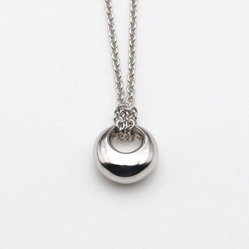 Last Quarter Moon Medium Silver Necklace Designer Shi Ye Craft