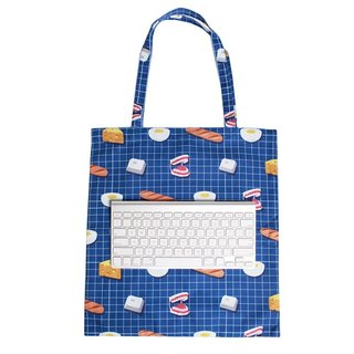 | 056 | Egg Bread Pseudo-Cylinders Keyboard Breakfast Square Checkered Canvas Shoulder Bag