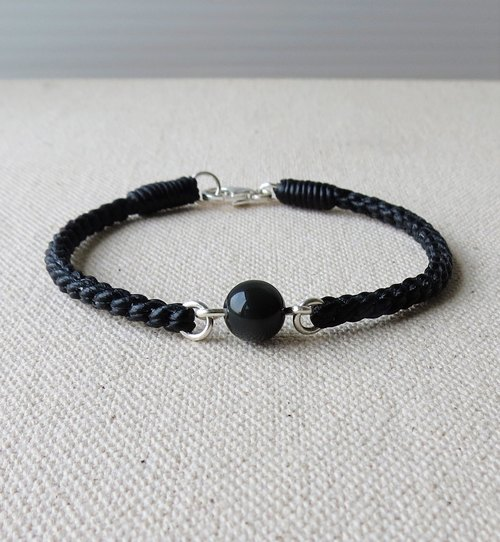 Sterling silver **Fortune pious obsidian silk wax line bracelet*[2] * Hachidaji ~ anti-villain [with gift box]