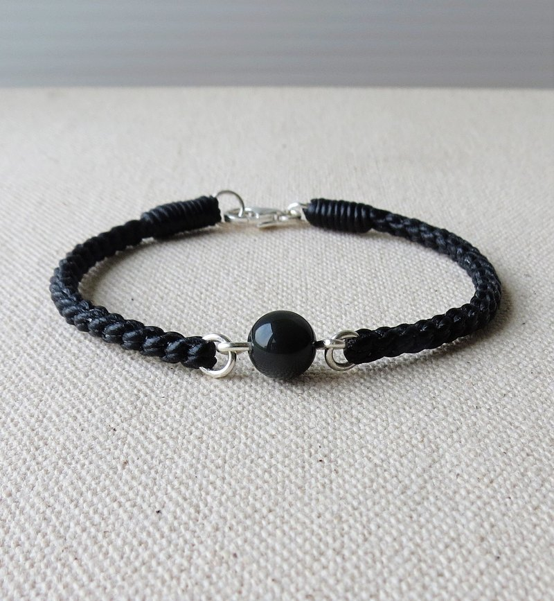 Sterling silver ** lucky wish black shale silk silk wax bracelet. Eight-part series [with gift box] anti-little