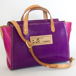 Do not hit the purple hit pink vegetable-tanned leather full leather pure hand tote bag with wood tassel accessories