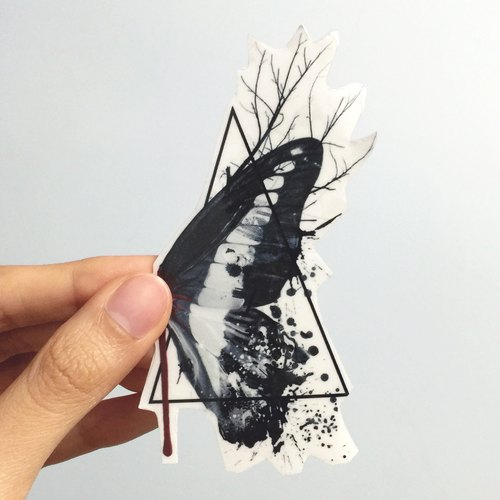 Residues butterfly transparent stickers