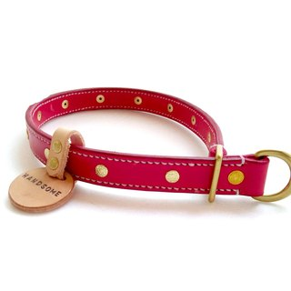 [Handsome hand-made leather collar P word] Double leather collar M (This can be added without brand available)
