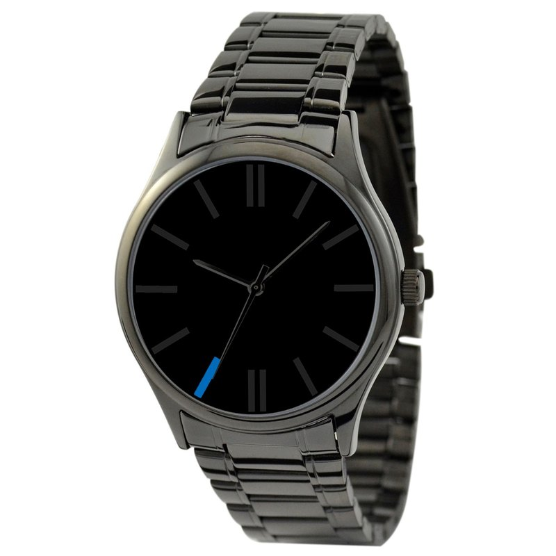 Simple Black Watch (Blue 7:00) with steel