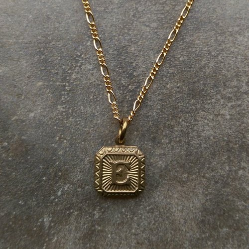 Antique brass letter necklace -E