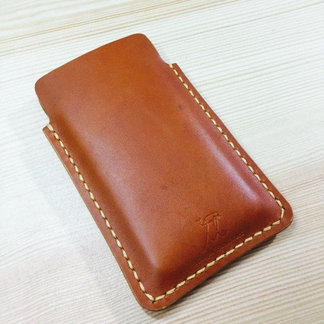 Mingen'Handiwork original hand-sewn deep orange leather iPhone5 / iPhone6 ​​/ 6plus protective sleeve mobile phone case leather case