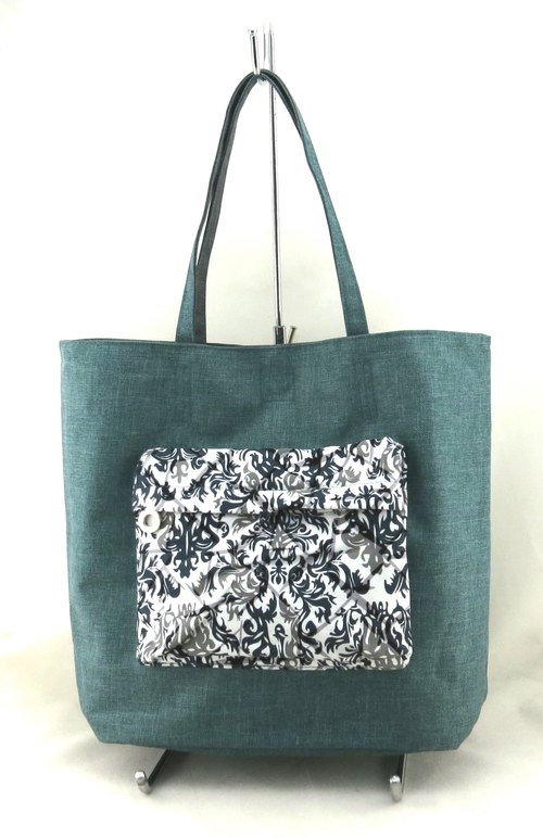 Texture of life texture double-sided handbag - pastoral green / gray