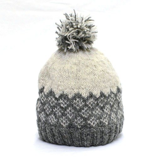 "Earth tree fair trade- ""hat Series"" - hand-woven 100% wool Quilted ball cap (light gray)"