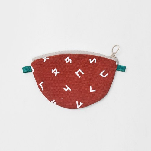 [HEYSUN] Taiwanese secret word / phonetic symbols printed on handmade silk purse - chocolate