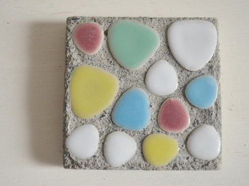 ARTtitude hand-made series - cement coaster (mosaics) color handmade custom made