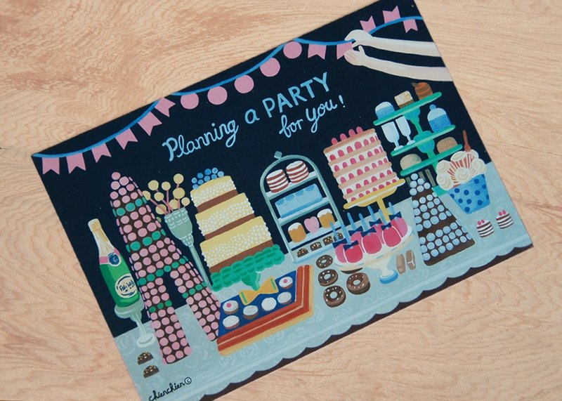 I'm preparing PARTY for you! Illustration Postcard / Card