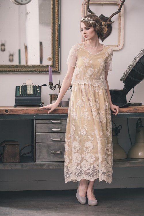 【Kan's】Vintage Victorian Style Classic Lace Maxi Dress