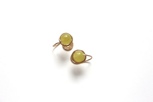【Olive Jade 】classic earring (Customizable clip-on)