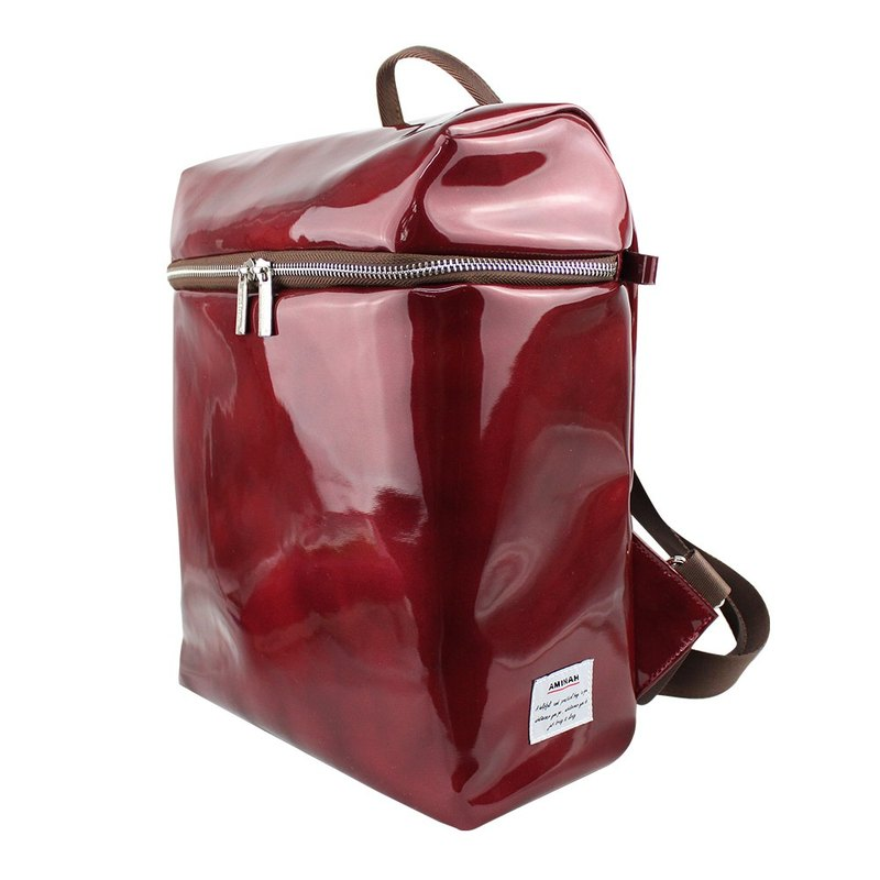 AMINAH-red shiny mirror back backpack [am-0279]