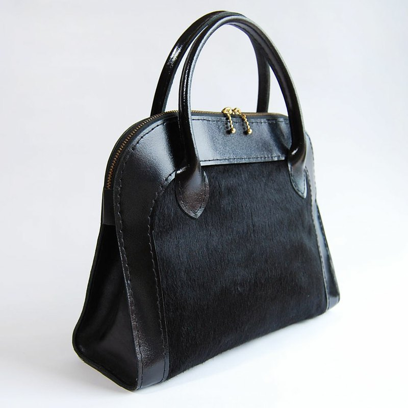 Mini Black/fur leather handbag