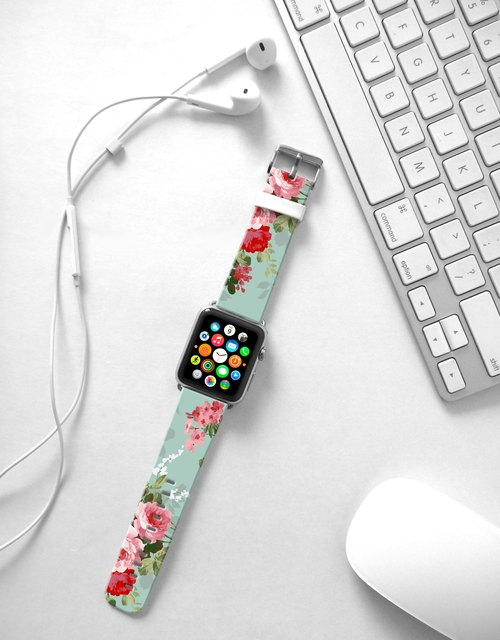 Apple Watch Series 1 , Series 2, Series 3 - Cyan Vintage Rose Flowers Pattern printed on genuine leather Strap band for Apple Watch / Apple Watch Sport - 38 mm / 42 mm avilable - cr8