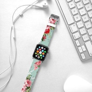 Apple Watch Series 1 , Series 2, Series 3 - Apple Watch 真皮手錶帶,適用於Apple Watch 及 Apple Watch Sport - Freshion 香港原創設計師品牌 - 懷舊青綠玫瑰花紋 cr8