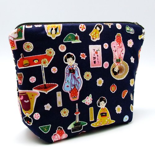 Zipper storage cloth, cosmetic bags, clutch (Japanese wind cloth - Japanese Doll) (ZL-41)