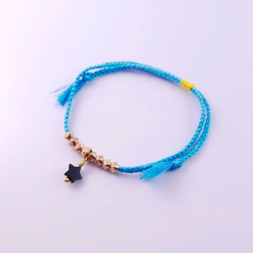 [ColorDay] copper beads and little stars - aqua blue woven bracelet (for men and women)