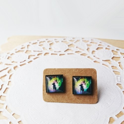 Northern Lights moose square earrings