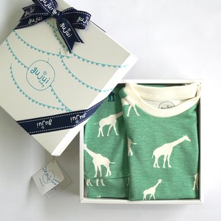 Gujui Organic Cotton Moon Gift Box - (Package + Trousers) - Love Giraffe (Green)