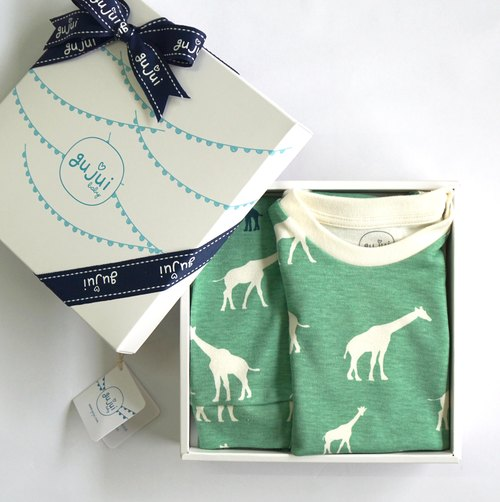 gujui organic cotton births Gift - (package fart clothes + trousers) - Love Giraffe (Green)