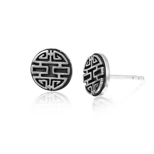 Fortune in series: Happiness word China Wind earrings sterling silver earrings -ART64