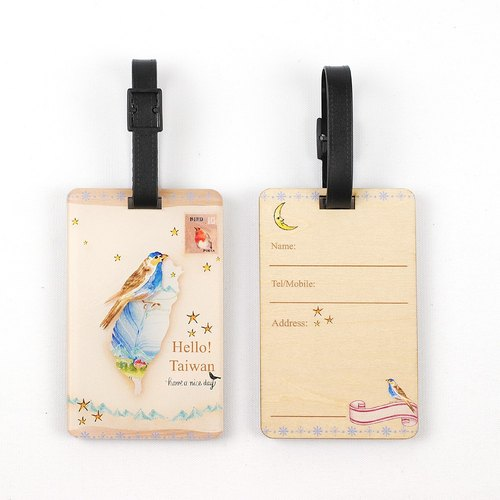Formosan black bear ˙Ω˙ Oh Lulu accompany wood texture travel * address * luggage tag designer / ※ can be customized printed wooden commemorative gifts ※