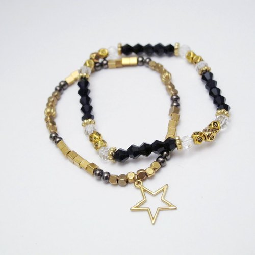 Orange Mu] [MUCHU crystal brass pentacle double bracelet