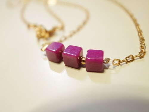 Purple peach cubic necklace