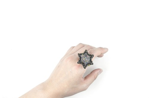 SUE BI DO WA - handmade leather and close the hand-woven ring of stars (mixed color) -Leather mix with yarn Star Ring