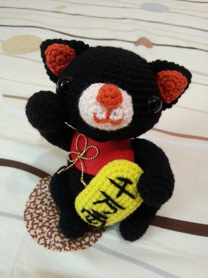 【Knitting】帶來幸福的招財貓(黑色公貓黃金千萬兩款)