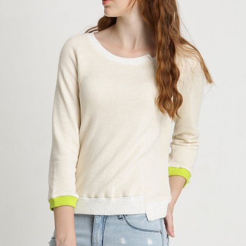 [DEF.IT] beige oblique spliced ​​Sleeve T (small rebel)