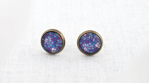 ♥ gift ♥ OldNew Lady- bronze small round earrings [mysterious Great Tile Collage]