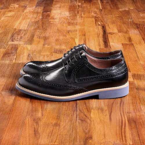 Vanger elegant beauty style classic long wing carved Derby shoes Va198 black