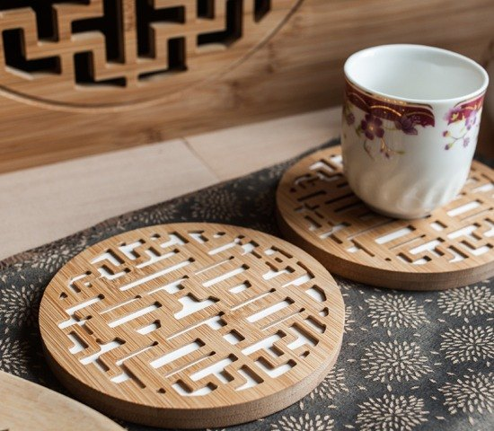 [Marriage Gifts] Double Happiness │ Insulation water absorption bamboo coasters