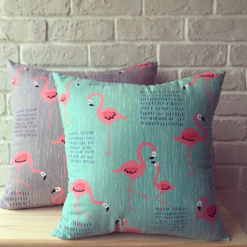 Animal friends / flamingo-sided peace of paragraph lunch / 43cm x 43cm large pillow