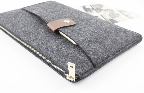 Original handmade dark gray felt Apple protective sleeve zipper jacket felt laptop bag computer bag Macbook Air 13.3 MacBook Air 13-inch (can be tailored) - ZMY108DG13A