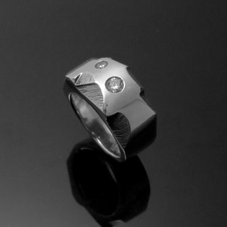 Handmade / diamond rugged texture ring / 925 silver