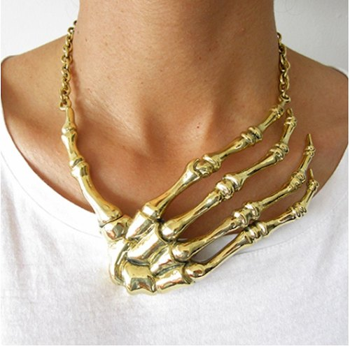 Hand bone necklace in brass,Rocker jewelry ,Skull jewelry,Biker jewelry