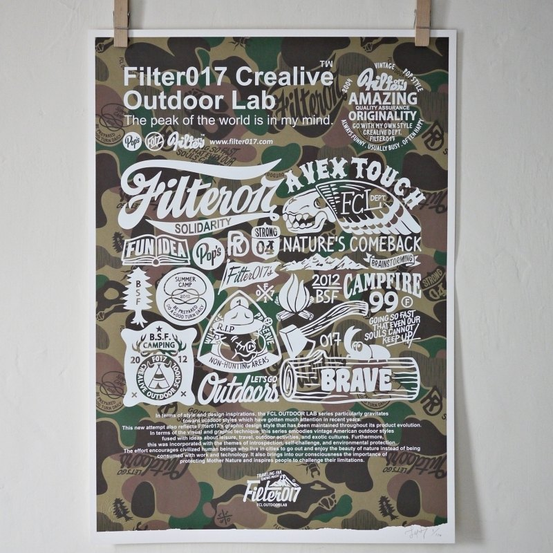 Filter017 FCL OUTDOOR LAB Screen Printing Poster 限量手工網版畫作 迷彩經典版