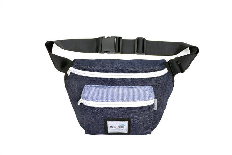 Matchwood Portable Matchwood Portable Waist Bag Backpack Crossbody Bag Denim Denim color